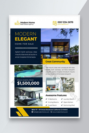 New Elegant Home for Sale Real Estate Flyer Template PSD