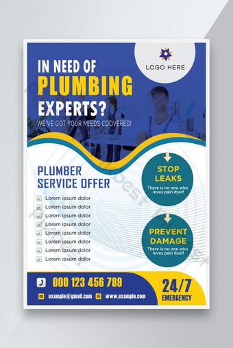 conception de modèle de dépliant de service de service plombier Modèle EPS