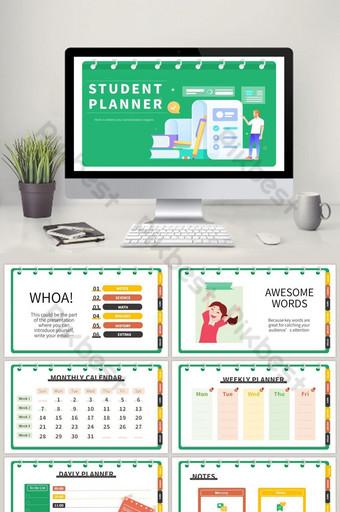Green Dessin animé Flat Notes Education Plan d'apprentissage École Planificateur d'études PPT Modèle de PPT Vert PowerPoint Modèle PPTX