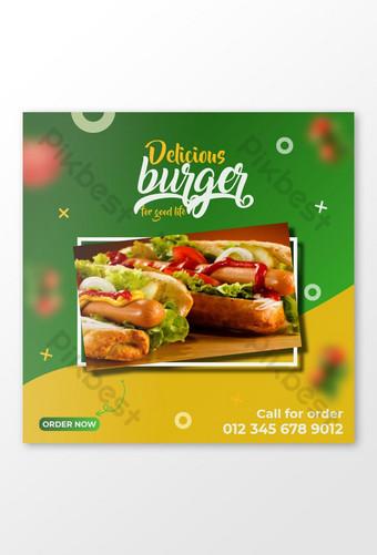 Burger Makanan Media Sosial Instagram Post Design dan Banner Web Templat EPS