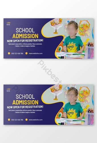 School Facebook Cover Conception ou admission à l'école Modèle de conception de bannière Web Modèle PSD