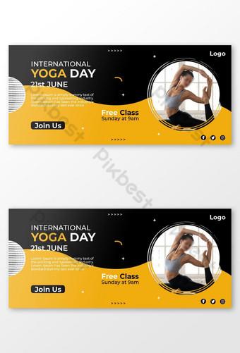 Unique Yoga Day Social Media Cover Design Template PSD