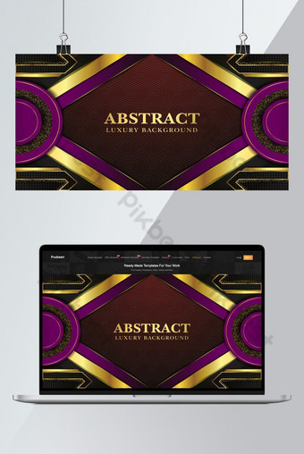 Abstract Golden luxury background template with geometric shapes premium Vector Backgrounds Template EPS