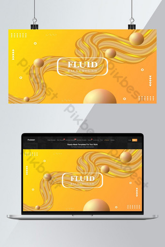 Fluid background with golden color  Backgrounds Template EPS
