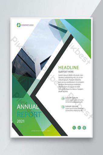 Rapport annuel de couleur vert créatif 2021 Modèle de conception de flyer EPS Modèle EPS