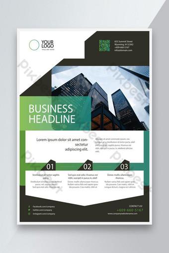 Création Green Color Business Headline Flyer Design Modèle EPS Modèle EPS