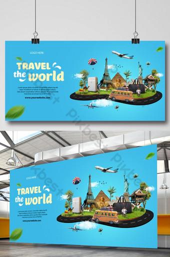 Viajes a los puntos de referencia de turismo de viaje por carretera mundial en la bandera de plantillas de vacaciones en globo Modelo PSD