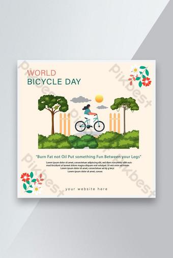 世界自行車日社交媒介崗位與花矢量模板 模板 EPS
