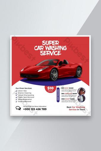 Lavado de coches Web banner Servicio de lavado de automóviles Banner Design Social Media Post Plantilla Modelo EPS