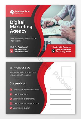 Modèle de conception de carte postale de l'agence de marketing numérique Vecteur Premium Modèle EPS
