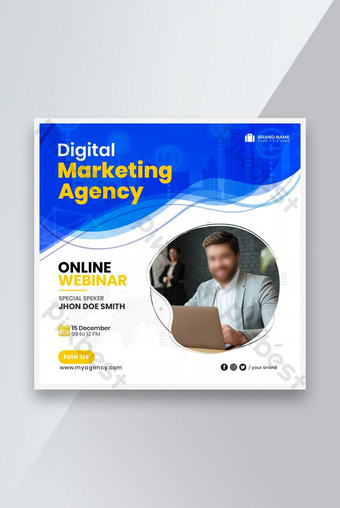 Bannière web de média sociale de l'agence de marketing numérique ou modèle de dépliant carré Modèle PSD