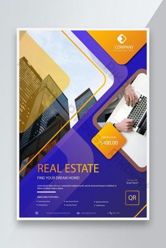 الإبداعية الذهبي اللون التدرج العقارات الأعمال نشرة تصميم قالب EPS قالب EPS