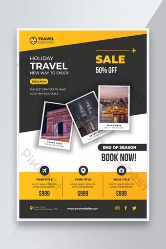 Reka bentuk template pelancongan komersial moden dengan reka bentuk yang bersih Templat EPS