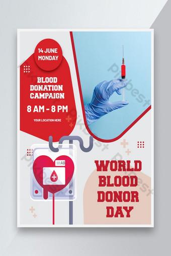 Modèle de dépliant de jour de dons de sang du monde Modèle AI