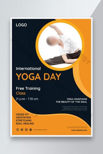Modèle de vecteur de dépliant promotionnel de la journée de yoga istygraphic Modèle AI