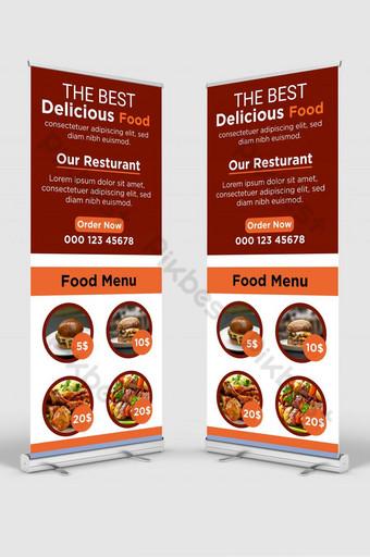Restoran Terbaik Promosi Makanan Roll dan Delicious Food Restaurant Signage Stand Design Templat AI