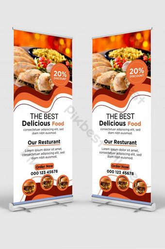 Makanan Modern Terbaik Roll Up Banner Design Template Stand Banner untuk Restoran dan Hotel Templat AI
