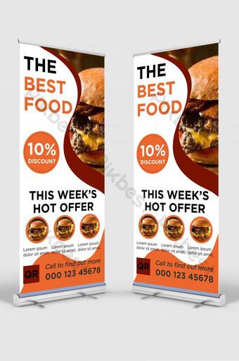 Restoran Makanan dan Makanan Delicious Restaurant Signage Stand Design Templat AI