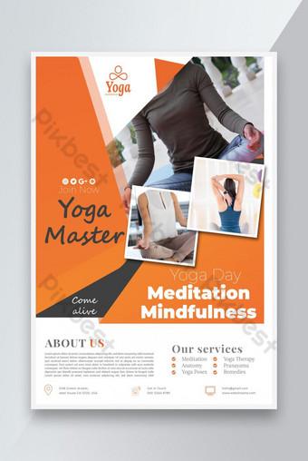 Journée de yoga internationale CLASSES DE CLASSER OU DE MÉDITATION Flyer Modèle AI