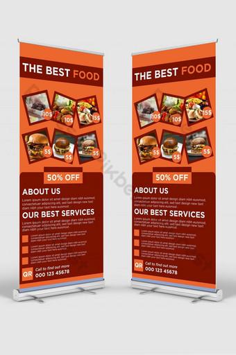 Makanan Modern Terbaik Roll Up Banner Design Template Stand Banner For Restaurant Templat AI