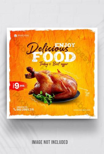 Menu Makanan dan Restoran Templat Banner Media Sosial Templat PSD