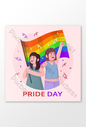 LGBT Pride Greeting Couple with Rainbow Flag Illustration Template AI