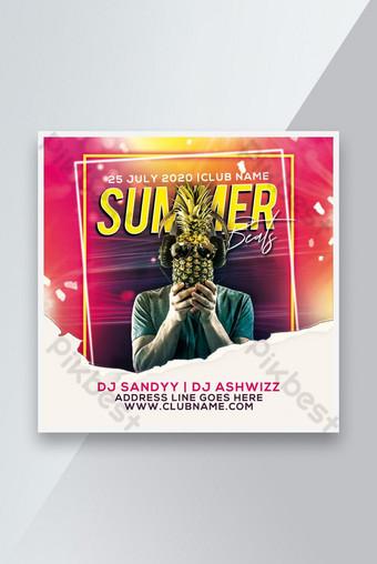 Summer Party Flyer Affiche Instagram post Social Media Post Modèle PSD