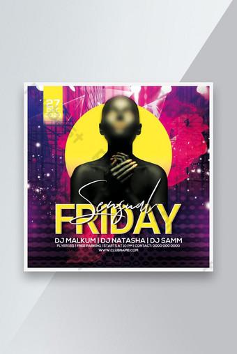 Sensual Vendredi Fête Poster Flyer Instagram Post Social Media Post Modèle PSD