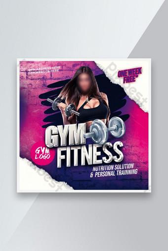 Gym Fitness Flyer Affiche Instagram Post Social Media Post Modèle PSD