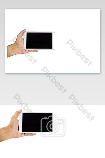 Main tenant un téléphone intelligent isolé sur fond blanc Éléments graphiques Modèle PNG
