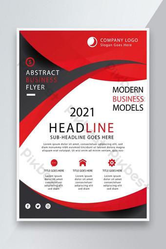 Modèle de conception de flyer d'entreprise créatif de couleur rouge de couleur rouge EPS Modèle EPS