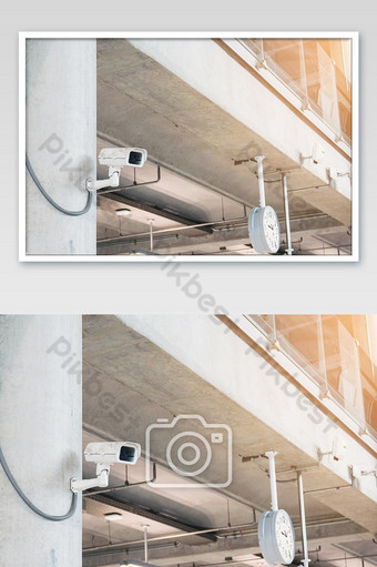 Security cameras in buildings and important places in the city. Photo Template JPG