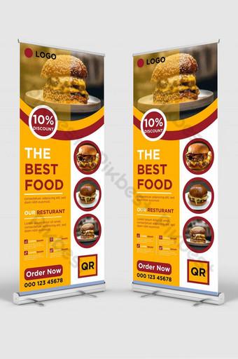 Best Restoran Modern Makanan Roll Up Banner Design Stand Design untuk Restoran dan Hotel Templat AI