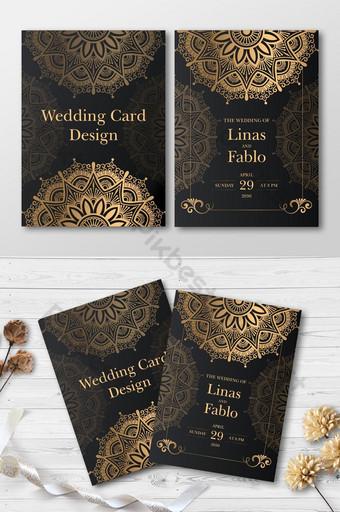 Cartes d'invitation de mariage de luxe élégante Cartes de voeux modernes Design floral Modèle EPS