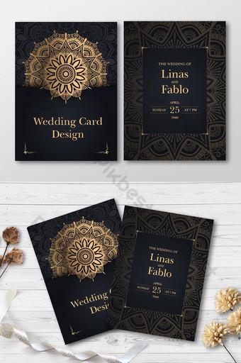 Carte d'invitation de mariage doré de luxe Design Carte de mariage Flyer Design A4 Modèle EPS
