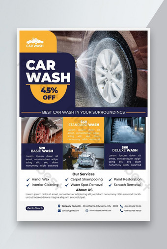 car wash flyer template, car washing service flyer template design, vector, a4 size Template EPS