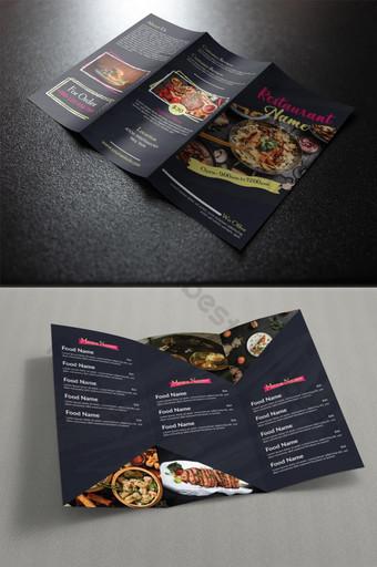 Menu Makanan Tri Fold Design Templat AI