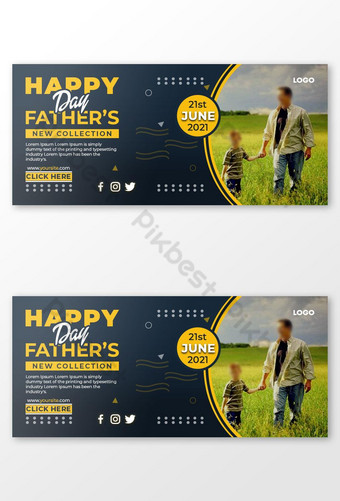 Happy Father's Day Facebook Cover Template PSD