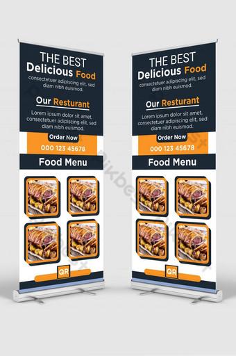 Restoran Makanan Roll up Standage Stande Standee X Banner Design Restaurant and Hotel Templat AI