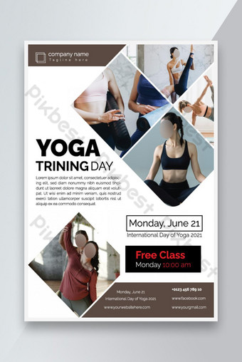 conception de modèle de dépliant de yoga Modèle EPS