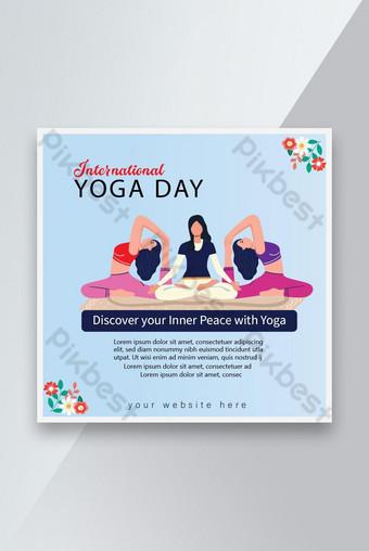International Yoga Day Modern Social Media Posts Templats Design Template EPS