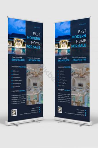 Immobilier Moderne Bleu DL Flyer ou Carte de rack ou vente de propriétés design de bannière Modèle AI