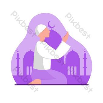 موقف مسلم يصلي صور PNG قالب EPS