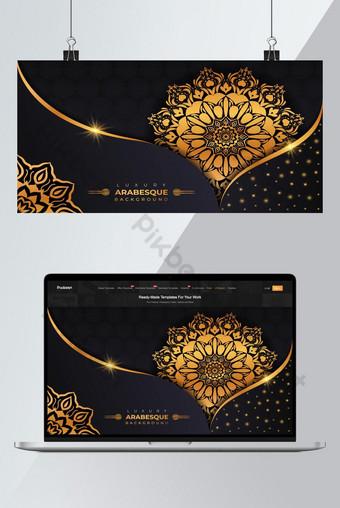 ماندالا الزينة الفاخرة تصميم خلفية في ذهبي اللون الفاخرة ماندالا الخلفية خلفيات قالب EPS