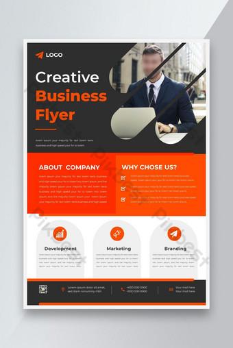 Modèle de conception de flyer d'affaires moderne d'entreprise avec flyer de marketing numérique couleur bleue Modèle AI