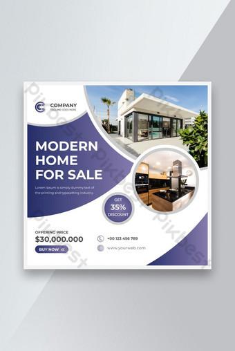 Moderne immobilier Maison à vendre Modèle Square Poste ou Flyer Instagram Modèle AI