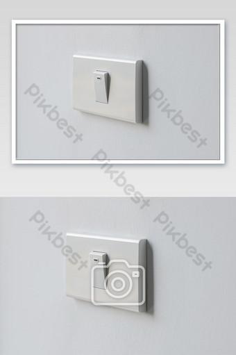 المقربة مفتاحا أبيض إضاءة جدارية وإيقاف الإضاءة للمكتب والسكن التصوير قالب JPG