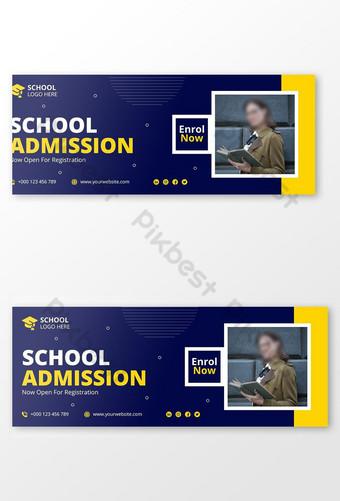 Modèle de bannière de la couverture Facebook d'admission de l'école pour enfants Modèle EPS