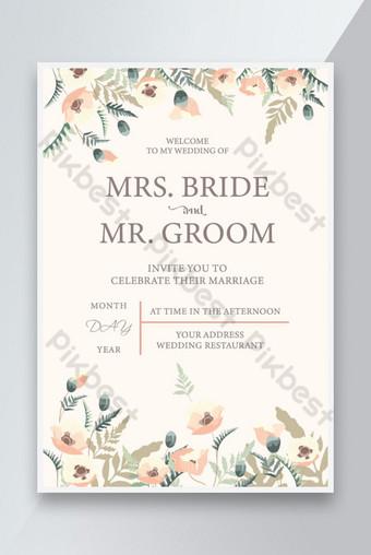 Modèles de cartes de mariage Design de décor floral Modèle AI