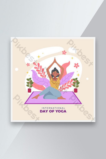 Social media yoga day banner design layout Template AI